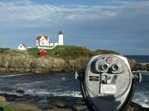 Kittery Lighthouse. Lighthouse with binoculars stock photos