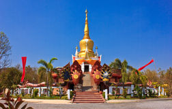 Kittiyanusorn Temple. Beautiful yellow stupa of temple Royalty Free Stock Images