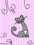Kitty. Happy grey cat on the pink stripped backdrop with curls Royalty Free Stock Photos