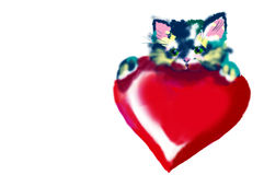 Kitty. With heart Stock Image