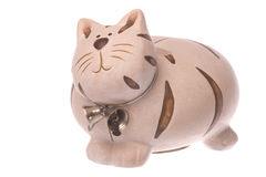Kitty Bank Isolated. Isolated image of a kitty bank or savings container in the shape of a cat Royalty Free Stock Photo
