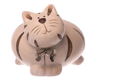 Kitty Bank Isolated. Isolated image of a kitty bank or savings container in the shape of a cat Royalty Free Stock Photography