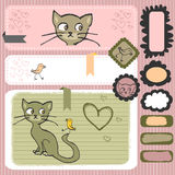 Kitty and bird scrapbook elements Royalty Free Stock Image