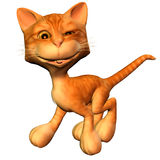 Kitty in blink pose. 3d rendering a blink cat as illustration Stock Images