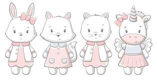 Kitty, bunny, fox, ponu cute print. Sweet baby. Girl shower card. Fashion child vector. Cool lovely vintage illustration for nursery t-shirt, kids apparel vector illustration