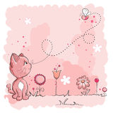 Kitty and butterfly. Pink kitty and butterfly - friends greeting card