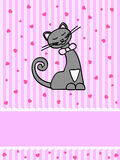 Kitty card. Pink greeting card with happy grey cat Royalty Free Stock Images