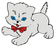 Kitty Cat. Drawing of a small Persian cat wearing a red ribbon Royalty Free Stock Image