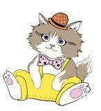 Kitty cat illustration with fashion dress Stock Photos