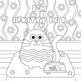 Kitty Cat with Milk Bowl Colorless royalty free illustration