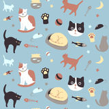 Kitty Collection Seamless Pattern. Set of cute cat related icons arranged in a seamless pattern. Available as  in Illustrator EPS 10 format with organized and Royalty Free Stock Photography