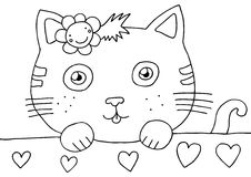 Kitty Coloring Page. Coloring page of a cute pussycat Royalty Free Stock Image