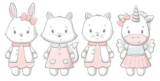 Kitty, coniglietto, volpe, stampa sveglia di ponu Bambino dolce illustrazione vettoriale