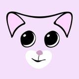 Kitty cute funny cartoon cat head. Vector illustration Royalty Free Stock Image