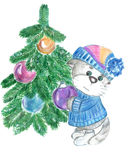 Kitty decorates a Christmas tree Stock Image