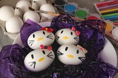 Kitty easter eggs stock photo