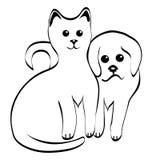 Kitty et chienchien Photos libres de droits