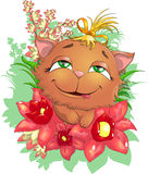 Kitty in flowers. Cat who sits in beautiful flowers stock illustration