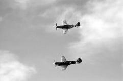 Kitty Hawk y vuelo de la formación CA-18 (B&W) Fotos de archivo