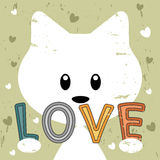 Kitty holding love message retro background Stock Photography