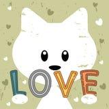 Kitty holding love message retro background stock illustration