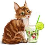 Kitty and Japanese koi fish. Watercolor painting Royalty Free Stock Image