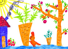 Kitty in kitchen garden, child drawing Royalty Free Stock Image