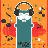 Kitty listening to music in headphones royalty free illustration