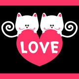 Kitty love romantic card Royalty Free Stock Photo