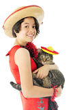 Kitty and Me Ready for Cinco de Mayo. A beautiful young teen happily holding her pet tabby cat, both dressed to celebrate Cinco de Mayo. On a white background stock photography