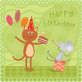 Kitty and mouse at the birthday party Royalty Free Stock Photo