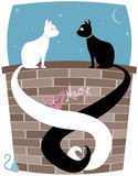 Kitty Pair. Black cat and white cat on a brick wall, tails entwined... little mouse looks up at the couple Vector Illustration