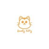 Kitty precioso, ejemplo lindo del diseño del vector de Cat Yellow Line Art Logo Fotos de archivo libres de regalías