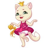 Cat princess cartoon vector illustration of kitty in pink dress. Kitty princess cartoon vector illustration for kid Happy Birthday greeting card design template vector illustration