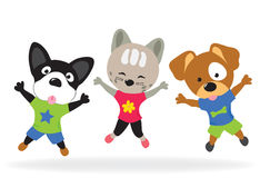 Kitty and puppies doing jumping jacks Royalty Free Stock Photo