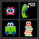Kitty set education theme Royalty Free Stock Photography