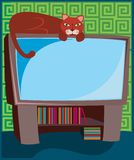Kitty on TV. Cat relaxes on top of the television - mouse silhouette on the screen Royalty Free Illustration