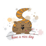 Kitty wishes you a nice day Royalty Free Stock Images