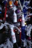 Kitz beer and christmas tree. Kitz Bräu Premium beer of Austria, Kitzbuhel under a white christmas tree stock images