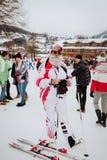 Kitzbà ¼恶劣环境测井Hahnenkamm下坡滑雪竞赛 免版税库存图片
