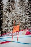 Kitzbà ¼恶劣环境测井Hahnenkamm下坡滑雪竞赛 库存照片