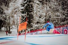 KitzbÃ-¼ Hel Hahnenkamm abschüssiger Ski Race lizenzfreies stockfoto