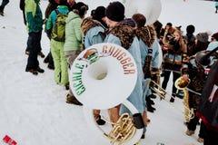 Kitzbà ¼hel Hahnenkamm sluttande Ski Race arkivfoton