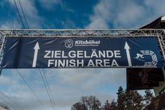 Kitzbühel Hahnenkamm Ski Race 2018 Austria. Kitzbühel Hahnenkamm downhill Ski Race 2018 Austria finish area sign Stock Image