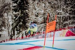 Kitzbühel Hahnenkamm Ski Race 2018 Austria. Kitzbühel Hahnenkamm downhill Ski Race 2018 Austria ski racer from Slovenia Royalty Free Stock Photo