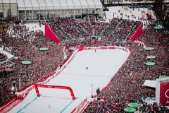 Kitzbühel Hahnenkamm Downhill Ski Race stock photos