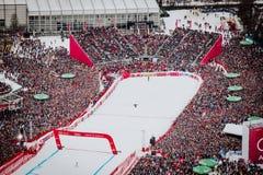 Kitzbühel Hahnenkamm Ski Race 2018 Austria. Kitzbühel Hahnenkamm downhill Ski Race 2018 Austria finish area from above Royalty Free Stock Photos