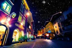 Berchtesgaden in December, night scene Royalty Free Stock Photography
