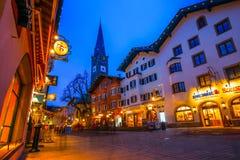 KITZBUEHEL,奥地利- 2016年2月15日-历史的城市K看法  图库摄影