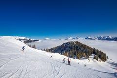 KITZBUEHEL, AUSTRIA - February 18, 2016 - Skier skiing and enjoy Royalty Free Stock Images
